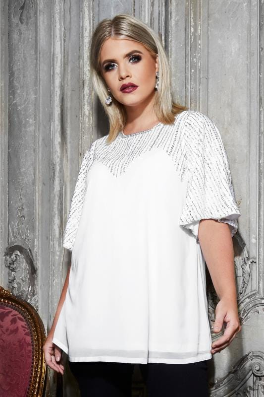 Plus Size Party Tops LUXE White Sequin Embellished Top With Kimono Sleeves