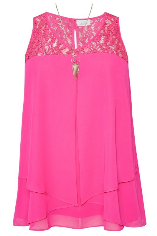 Plus Size Vests & Camis YOURS LONDON Pink Layered Chiffon Top