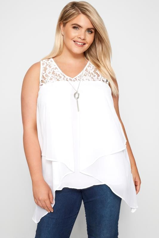 Plus Size Vests & Camis YOURS LONDON White Layered Chiffon Top