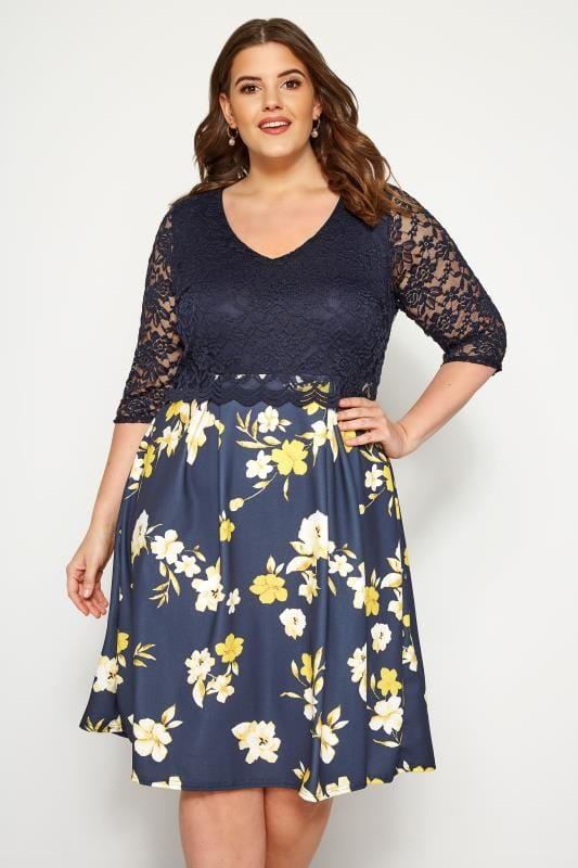 Plus Size Floral Dresses YOURS LONDON Navy Floral Lace Overlay Dress