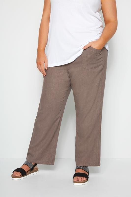Plus Size Linen Mix Trousers Latte Linen Mix Wide Leg Trousers