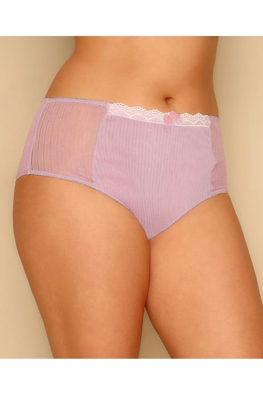 Lavender Purple Mesh Briefs With Lace Trim & Ribbon Detail