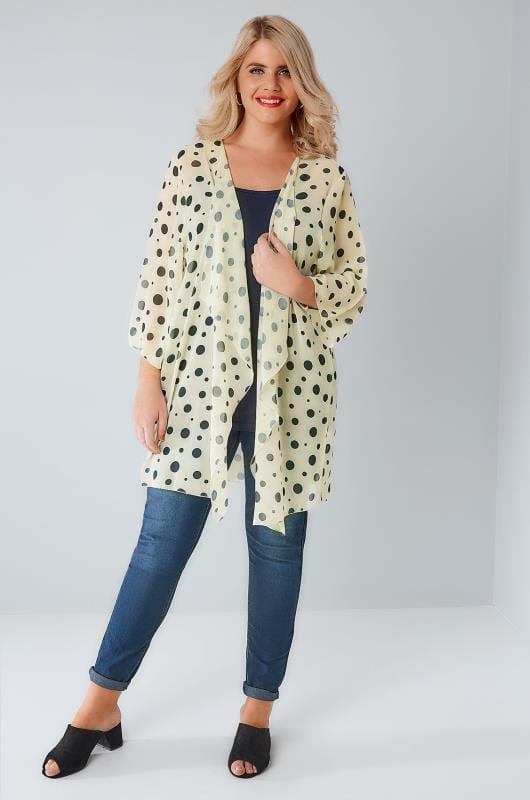 Lemon & Navy Dotty Print Chiffon Kimono With Waterfall Front