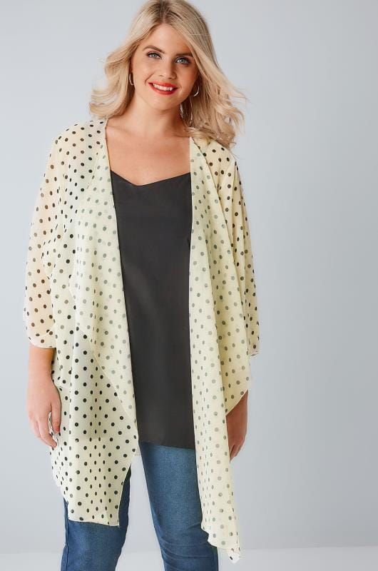 Lemon & Navy Polka Dot Print Chiffon Kimono With Waterfall Front