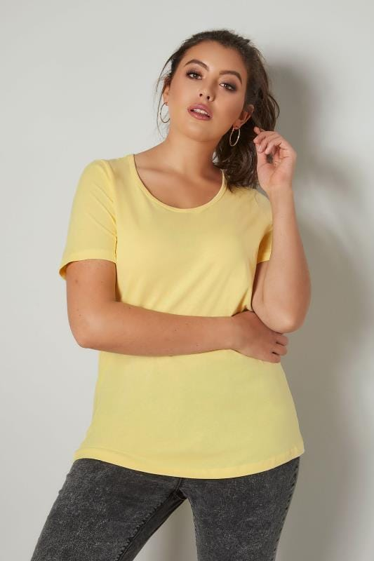 Lemon Scoop Neck Basic T-Shirt