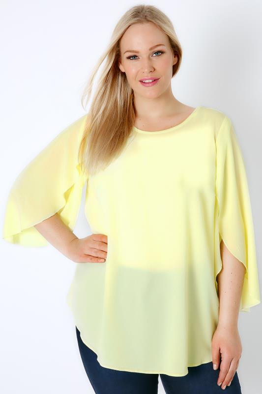Lemon Yellow Woven Blouse With Angel Sleeves