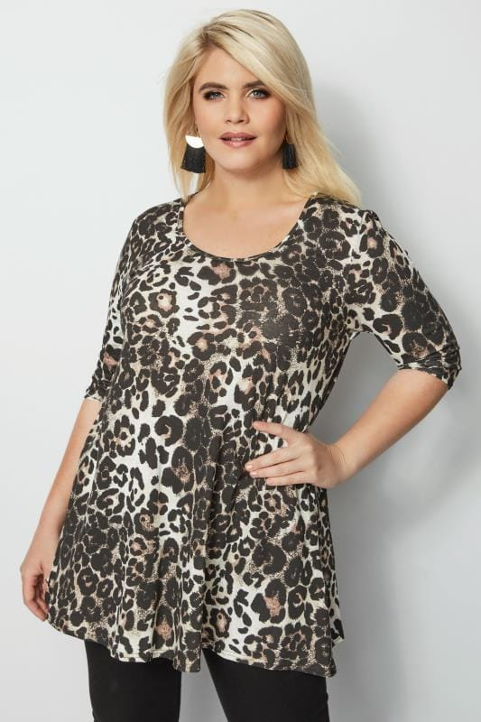 Plus Size Day Tops Leopard Print Animal Swing Top