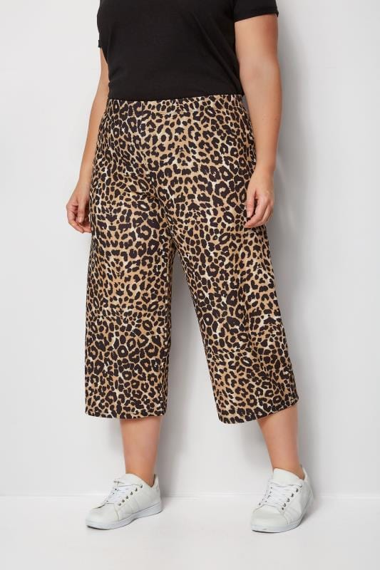 Plus Size Cropped Trousers Leopard Print Culottes