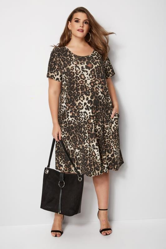Leopard Print Drape Pocket Dress