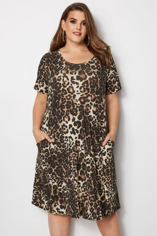 Plus Size Swing Dresses Leopard Print Drape Pocket Dress