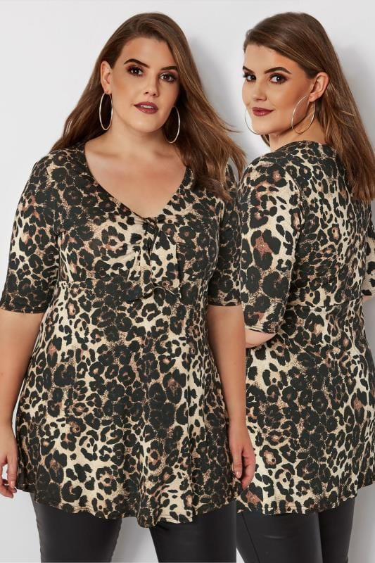 Plus Size Day Tops Leopard Print Knot Top