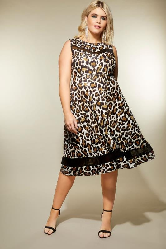 Plus Size Midi Dresses Leopard Print Scuba Skater Dress