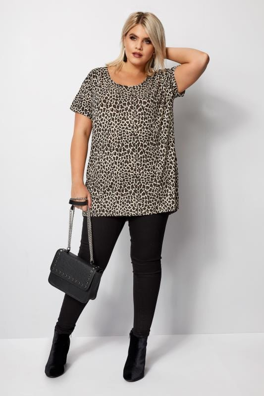 Plus Size Day Tops Leopard Print T-Shirt