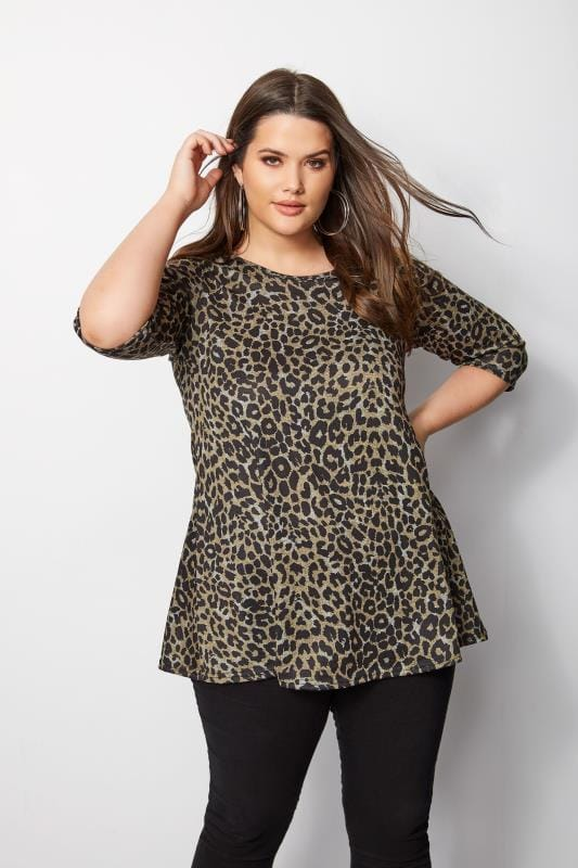 Leopard Print Top With Cross Over Back