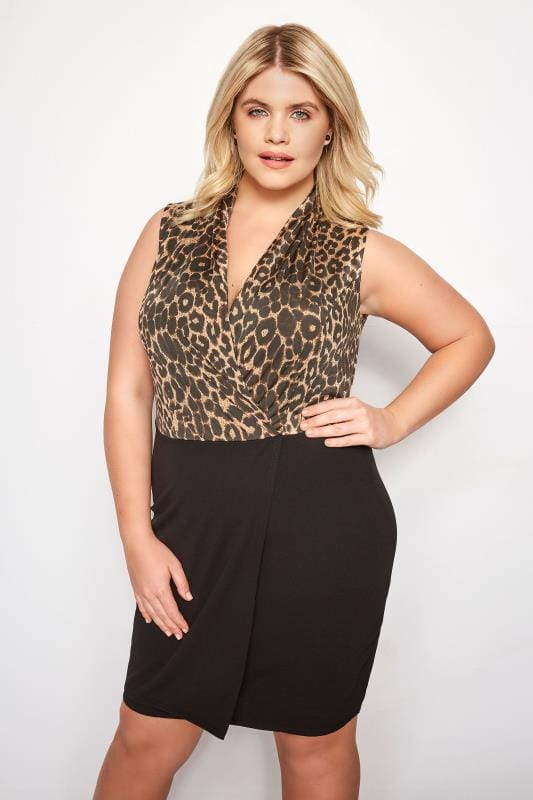 Plus Size Party Dresses Leopard Print Wrap Bodycon Dress