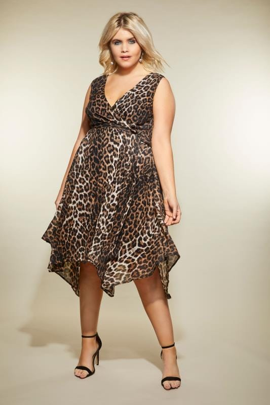 Leopard Print Wrap Dress With Hanky Hem, plus size 16 to 32