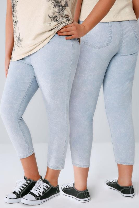 Light Blue Acid Wash Pull On Cropped JENNY Jeggings