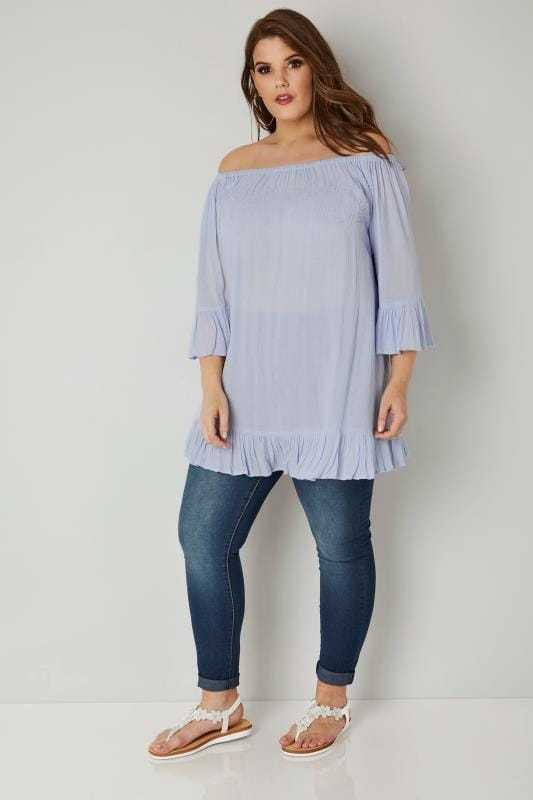 Light Blue Beaded Bardot Gypsy Top