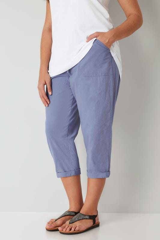 Plus Size Cool Cotton Crops Light Blue Cool Cotton Cropped Trousers