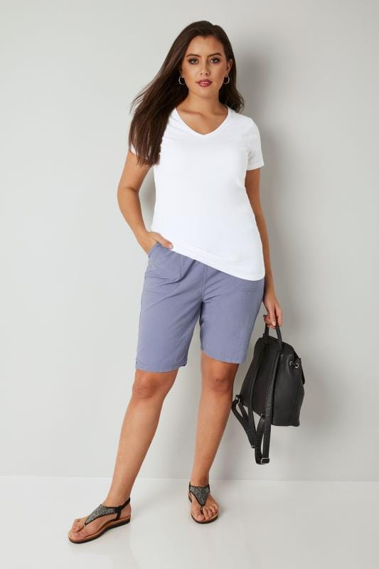 Light Blue Cool Cotton Pull On Shorts