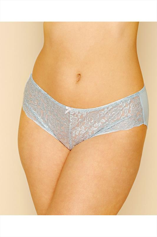 Plus Size Briefs & Knickers Light Blue Lace Front Brief