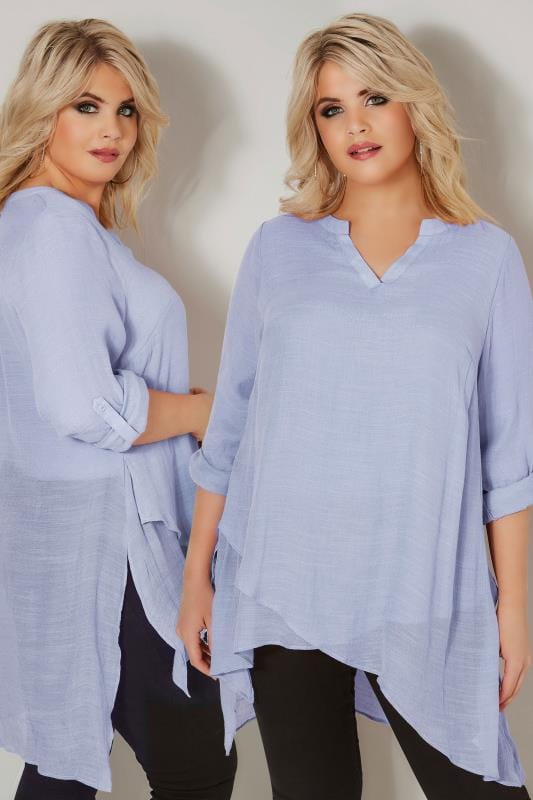 Plus Size Blouses & Shirts Light Blue Layered Blouse With Notch Neck & Dipped Hem