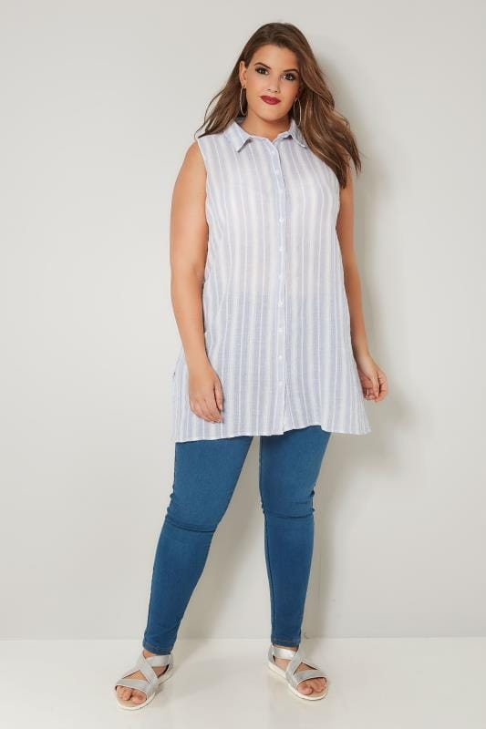 Light Blue Striped Sleeveless Shirt