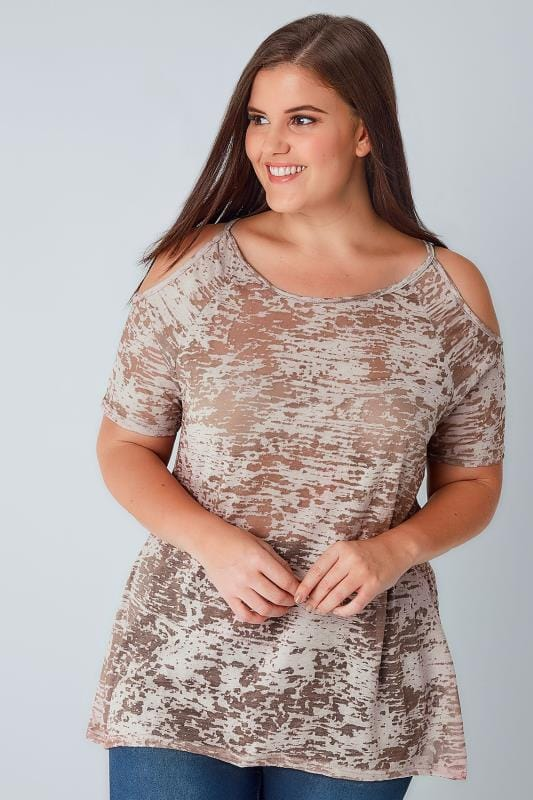 Light Brown Burn Out Print Cold Shoulder Top