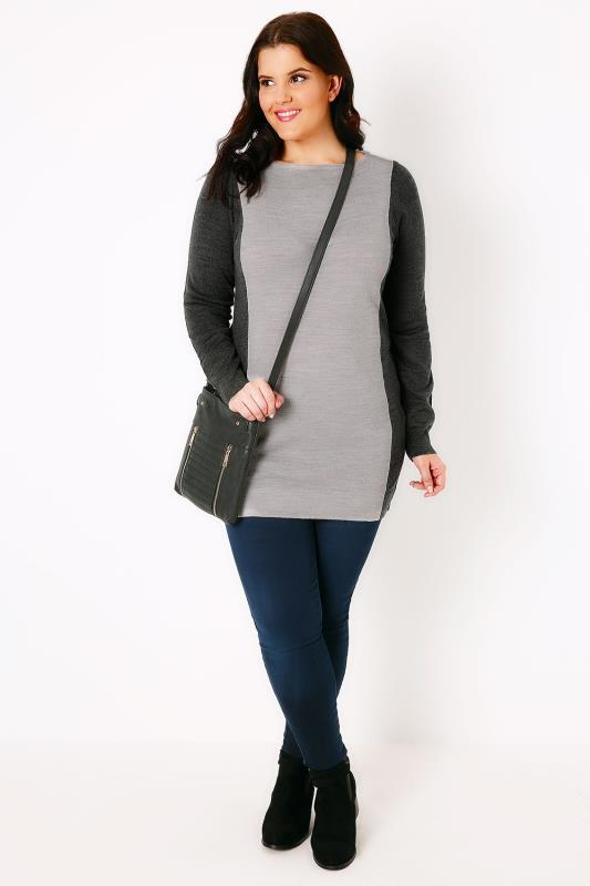 Light & Dark Grey Colour Block Knitted Tunic