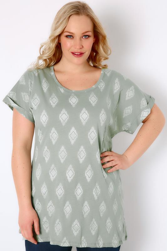 Light Green & White Diamond Print Top With Turn-Back Sleeves