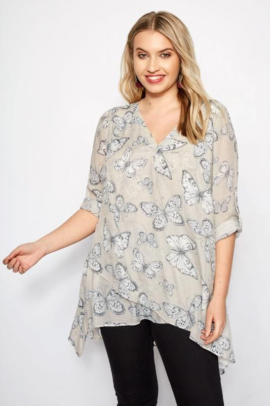 Plus Size Blouses & Shirts Light Grey Butterfly Layered Blouse With Notch Neck