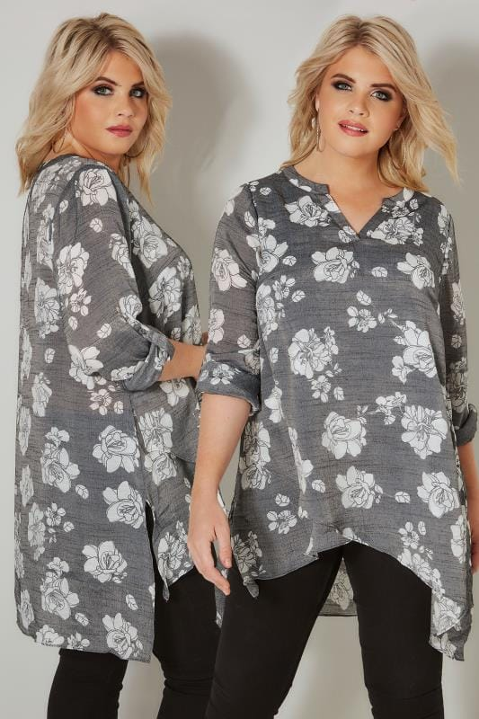 Plus Size Blouses Light Grey Floral Layered Blouse With Notch Neck & Dipped Hem