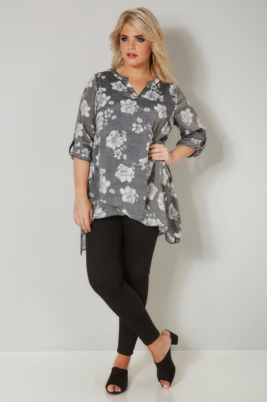 Light Grey Floral Layered Blouse With Notch Neck & Dipped Hem