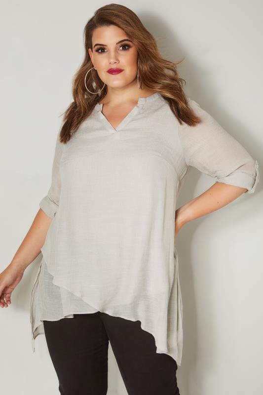 Plus Size Longline Tops Light Grey Layered Blouse With Notch Neck