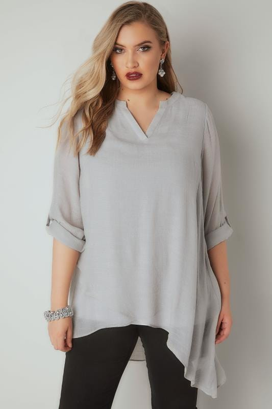 Light Grey Layered Blouse With Notch Neck & Dipped Hem