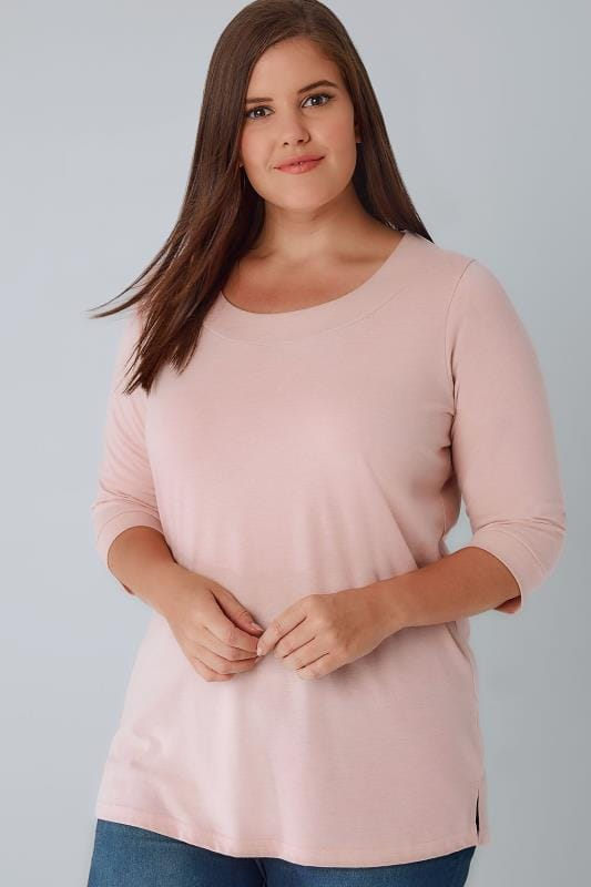 Light Pink Band Scoop Neckline T-Shirt With 3/4 Sleeves