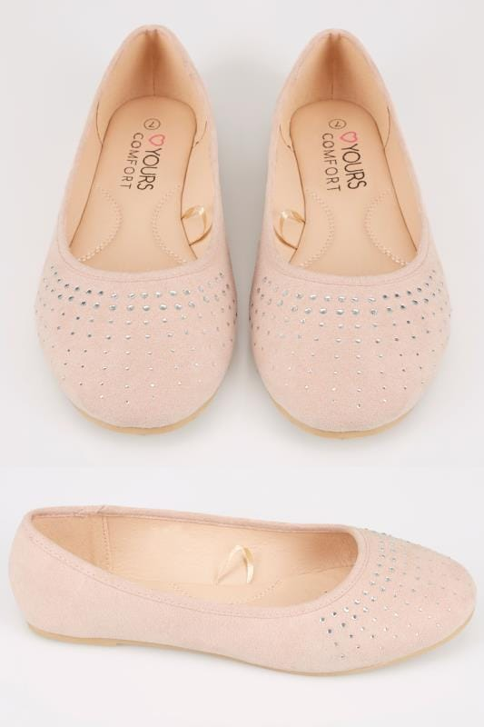 Wide Fit Flat Shoes Light Pink Ballerina Pumps With Diamante Detail In TRUE EEE Fit