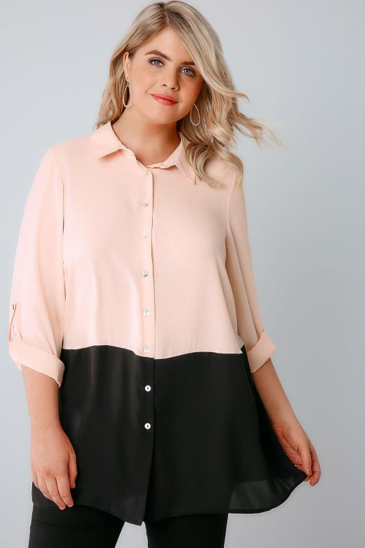 Plus Size Blouses & Shirts Light Pink Colour Block Chiffon Shirt With 3/4 Length Roll Up Sleeves