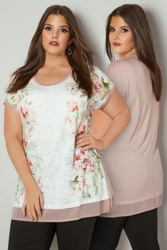 Plus Size Day Tops Light Pink Floral Print Top With Chiffon Hem
