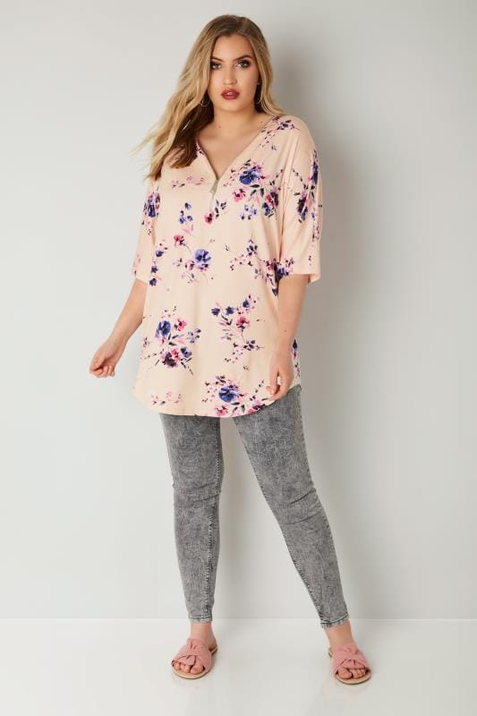 Light Pink Floral Zip Front Top With Stud Embellishment