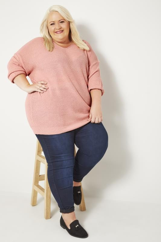 Plus Size Jumpers Light Pink Knitted Jumper With Cross Over Straps