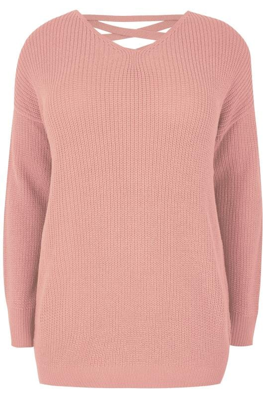 Light Pink Knitted Jumper With Cross Over Straps