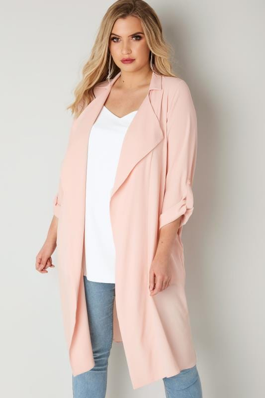 Plus Size Jackets Light Pink Lightweight Duster Jacket With Waterfall Front