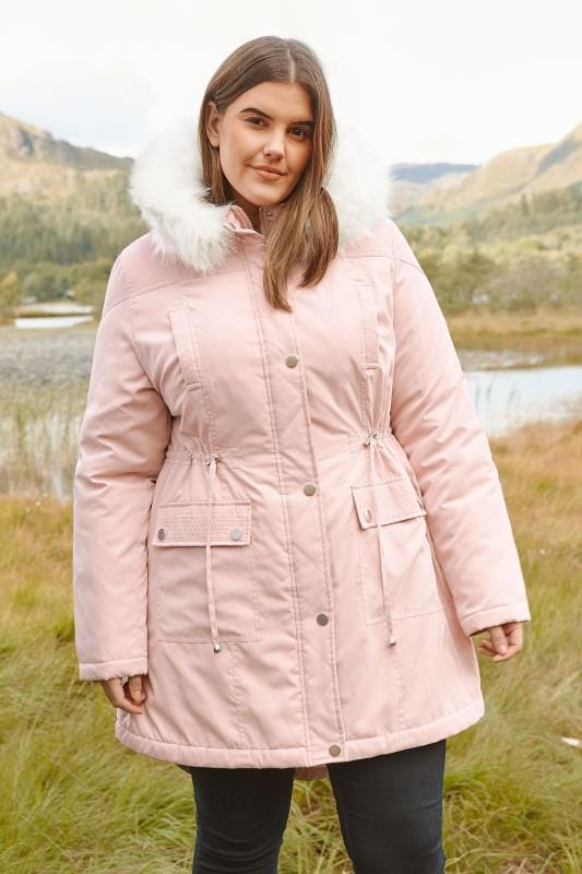 Plus Size Parka Coats Light Pink Lined Parka With Faux Fur Trim Hood