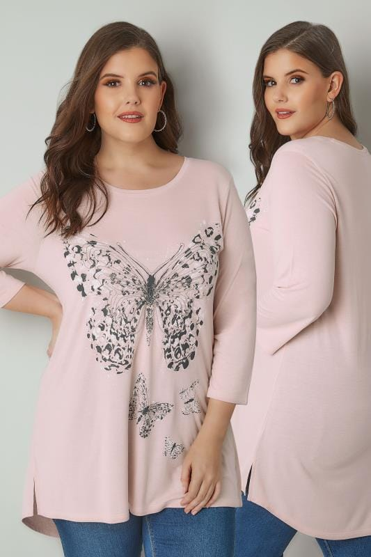 Light Pink Longline Butterfly Print Top With Bead Embellishment