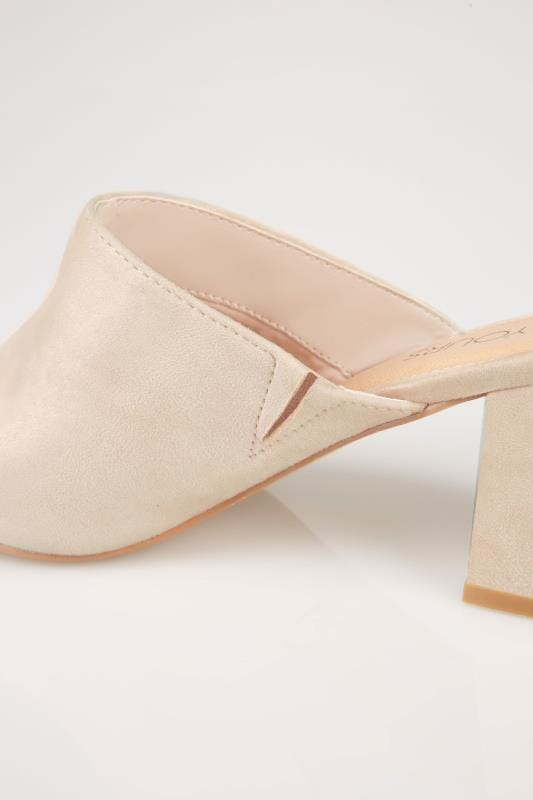 Nude Mule Sandals With Block Heel In TRUE EEE Fit
