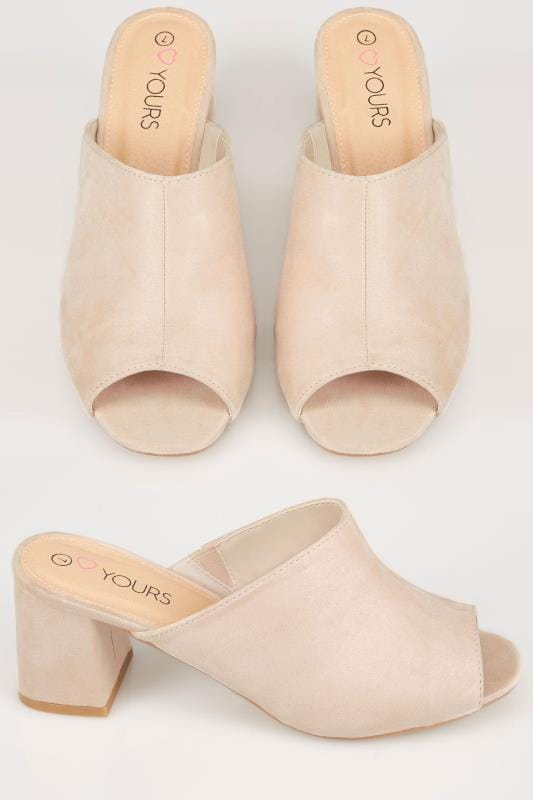 Wide Fit Heels Nude Mule Sandals With Block Heel In TRUE EEE Fit