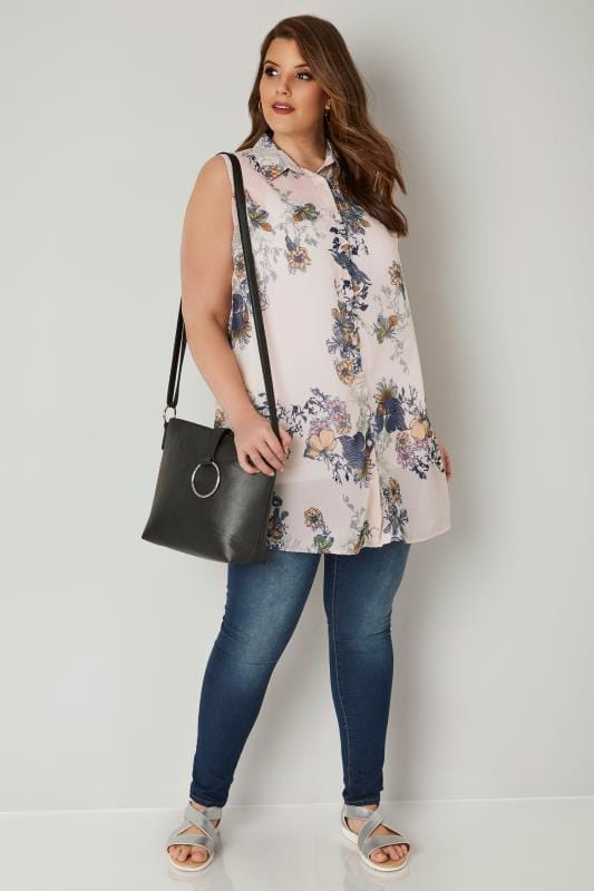 Light Pink & Multi Floral Longline Sleeveless Shirt