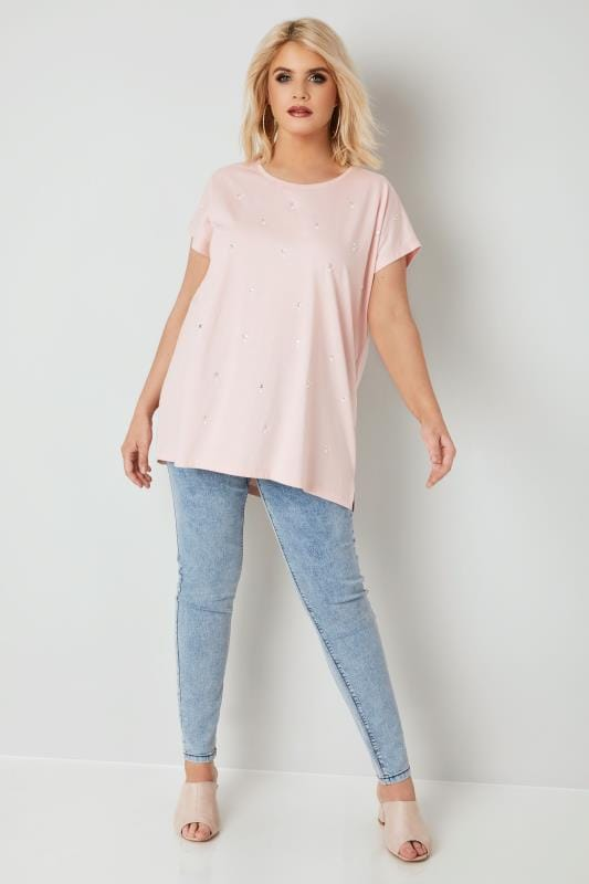 Light Pink Pearlescent & Diamante Embellished T-Shirt