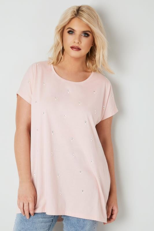 Plus Size Jersey Tops Light Pink Pearlescent & Diamante Embellished T-Shirt